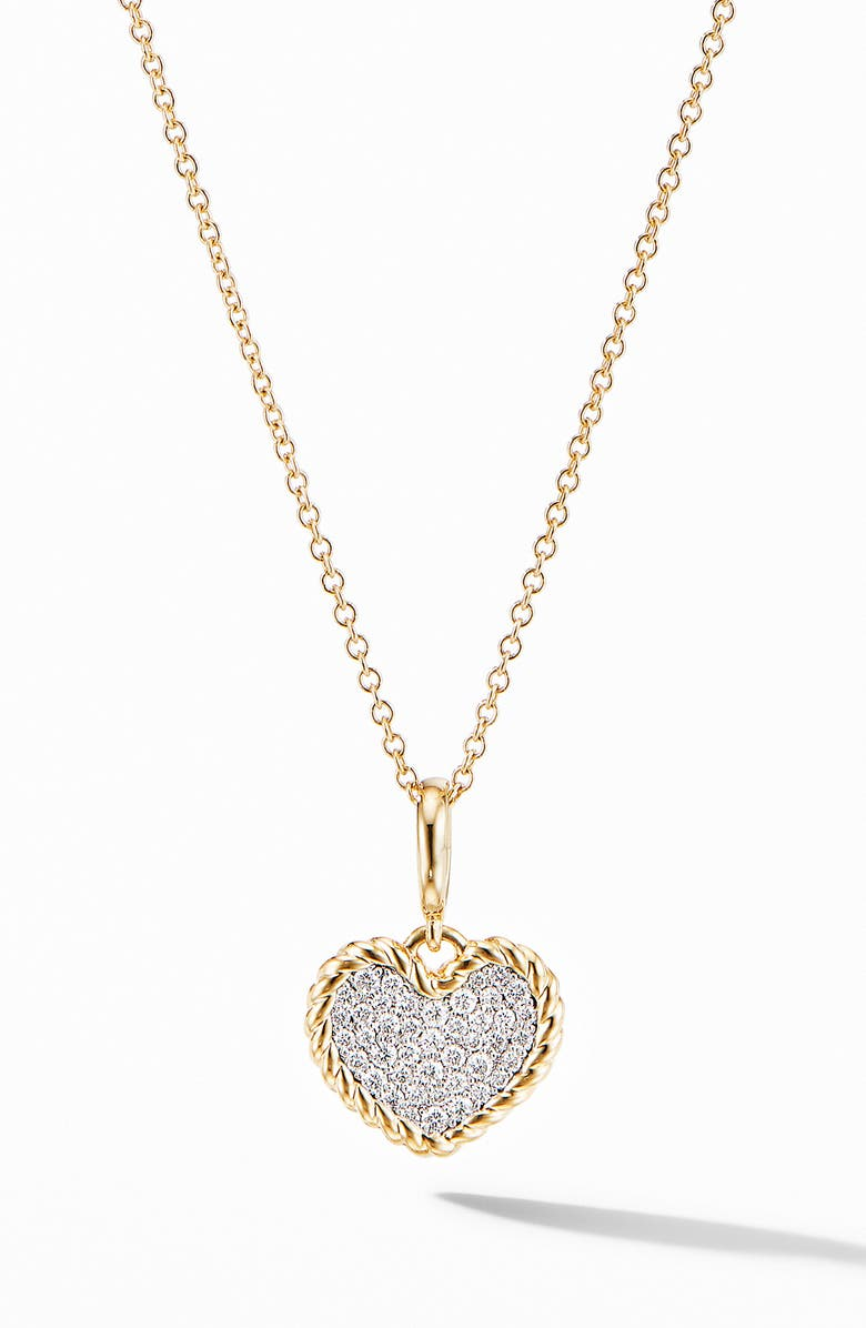 DAVID YURMAN Cable Collectibles<sup>®</sup> Pavé Plate Heart Charm Necklace in 18K Yellow Gold, Main, color, DIAMOND
