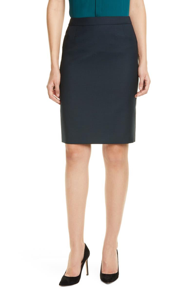 b474eefdc5c Vilea Dark Emerald Patterned Wool Pencil Skirt
