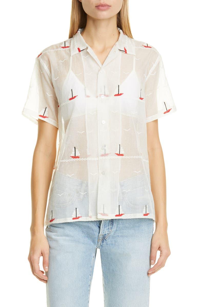 BODE Sailboat Textured Sheer Shirt, Main, color, RED SAIL BOAT