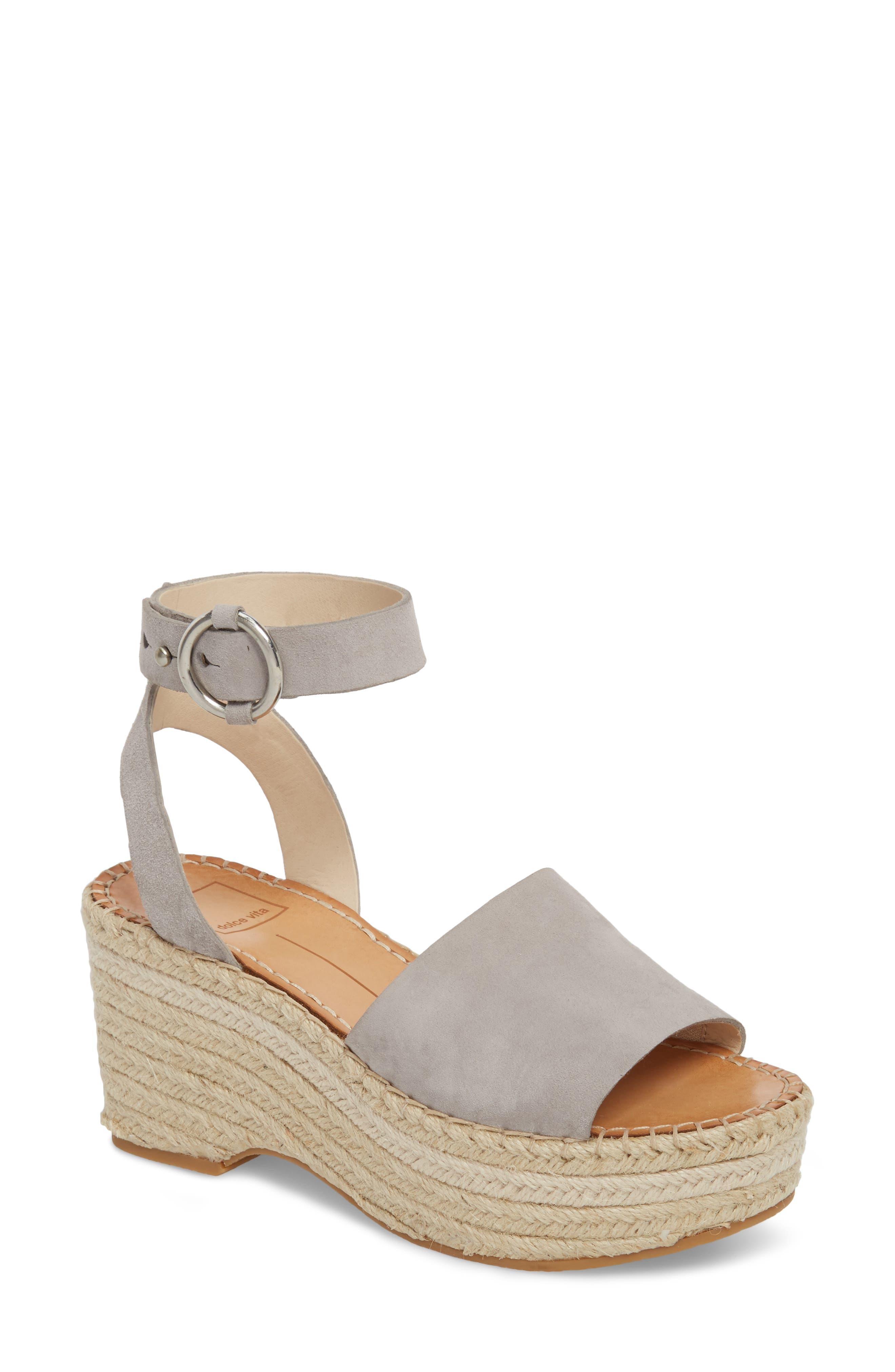 Dolce Vita Lesly Espadrille Platform Sandal, Grey