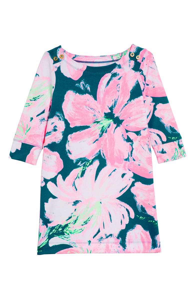 LILLY PULITZER<SUP>®</SUP> Mini Sophie UPF50+ Shift Dress, Main, color, TIDAL WAVE PANS GARDEN