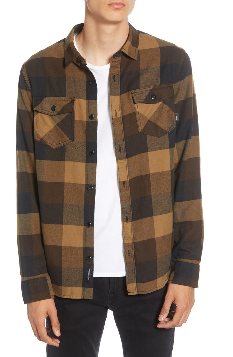 VANS Box Tailored Fit Buffalo Check Button-Up Flannel Shirt, Main, color, BLACK/ DIRT