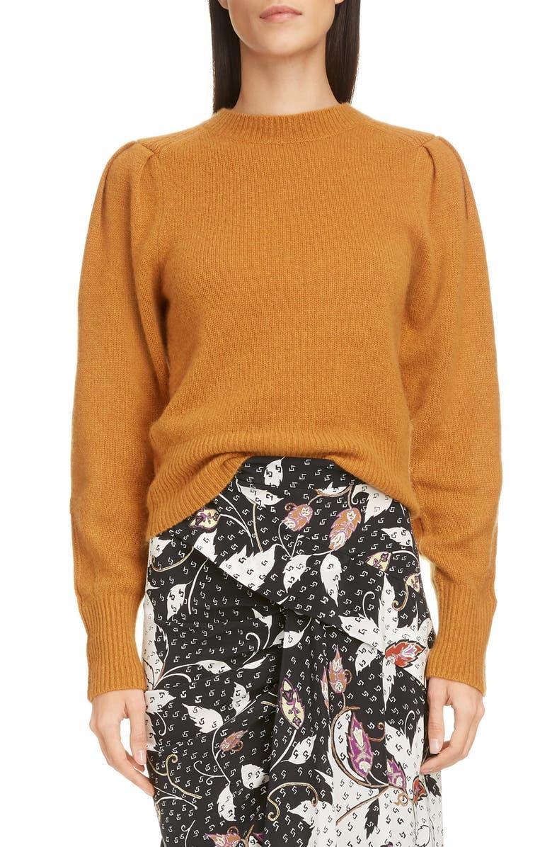 ISABEL MARANT Ruched Shoulder Cashmere Sweater, Main, color, CAMEL