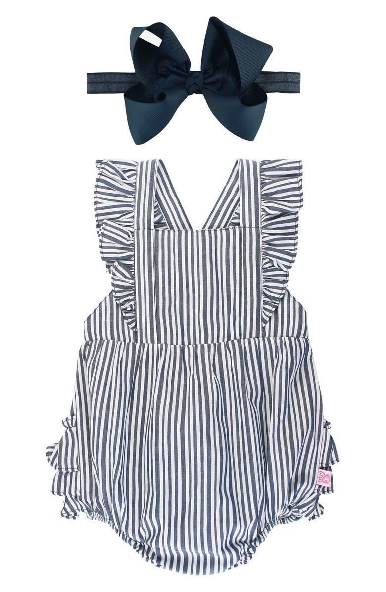 RUFFLEBUTTS Stripe Bubble Romper & Bow Head Wrap Set, Main, color, BLUE