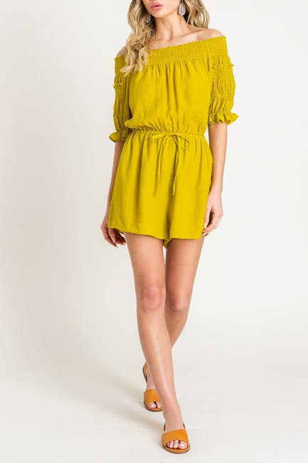 Image of Lush Off-the-Shoulder Tie Waist Romper