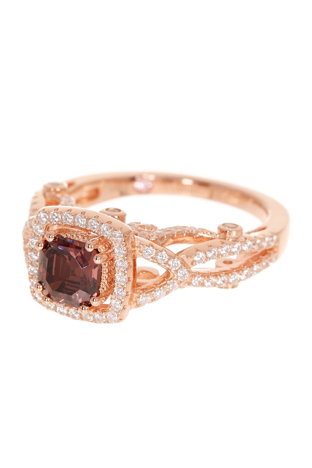 Image of Suzy Levian Rose Gold Plated Sterling Silver Asscher-Cut Brown & White CZ Engagement Ring