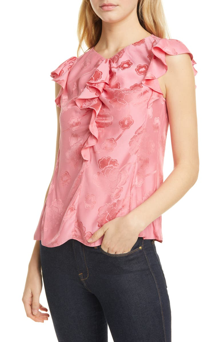 REBECCA TAYLOR Mimosa Floral Silk Blend Jacquard Blouse, Main, color, FLAMINGO