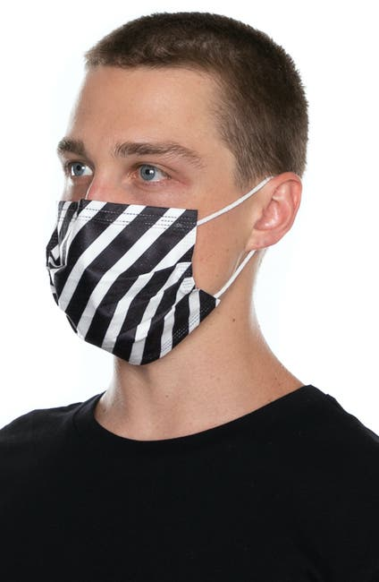 Image of Medipop 5-Pack Adult Disposable Wave Print Pleated Face Masks