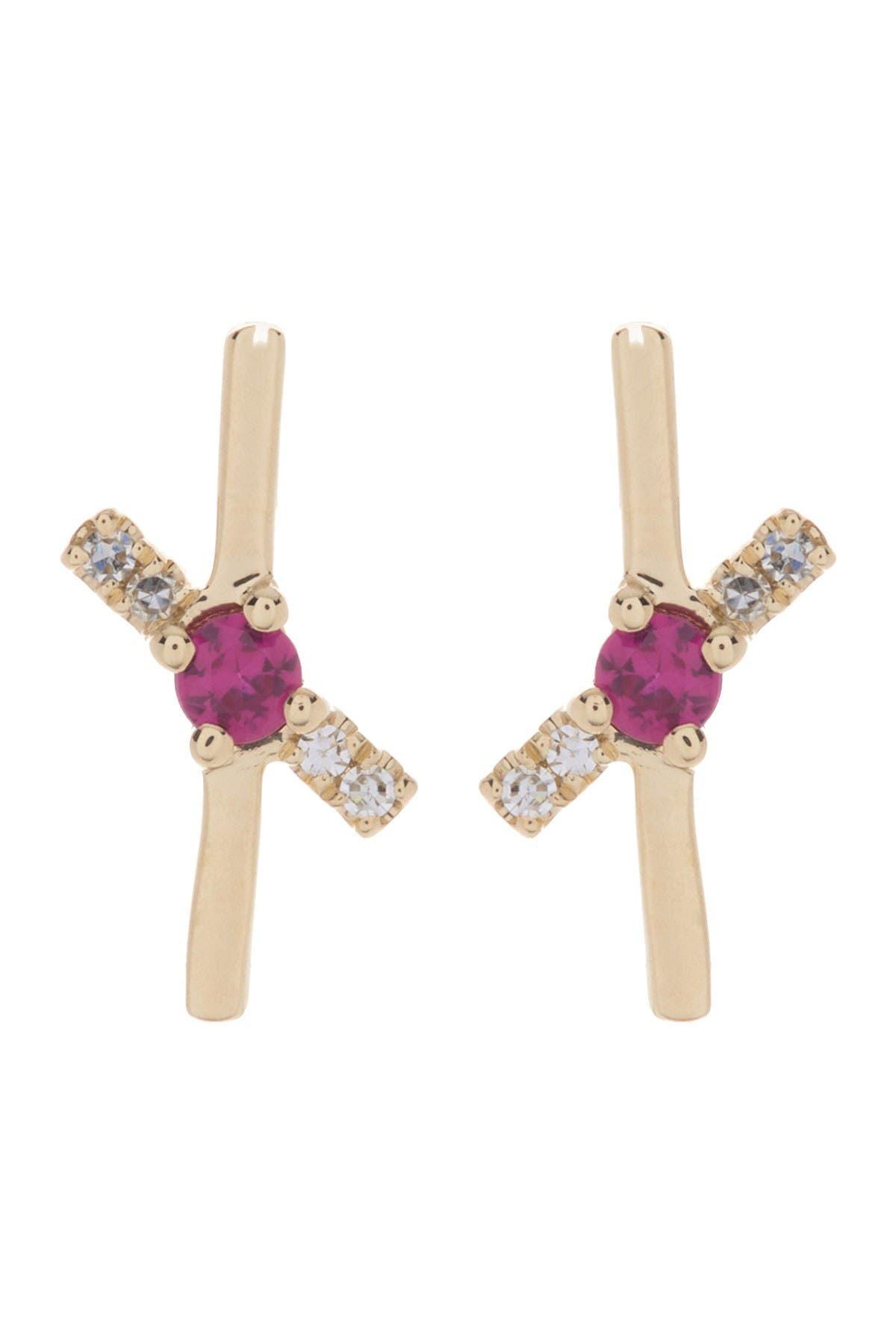 Ron Hami 14K Yellow Gold Ruby & Diamond Stud Earrings - 0.03 ctw at Nordstrom Rack