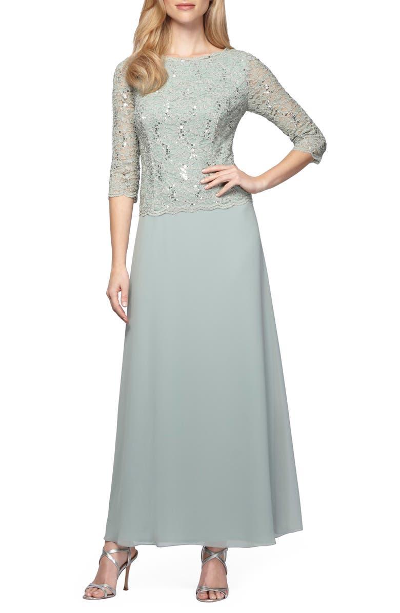 ALEX EVENINGS Sequin Lace & Chiffon Gown, Main, color, 331