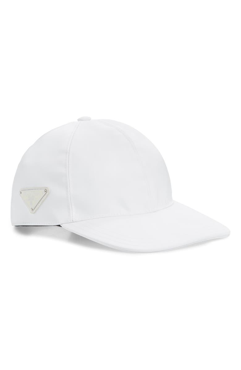 PRADA Tessuto Triangolo Nylon Baseball Cap, Main, color, BIANCO