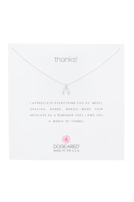 Image of Dogeared Sterling Silver Thanks Tiny Wishbone Pendant Necklace
