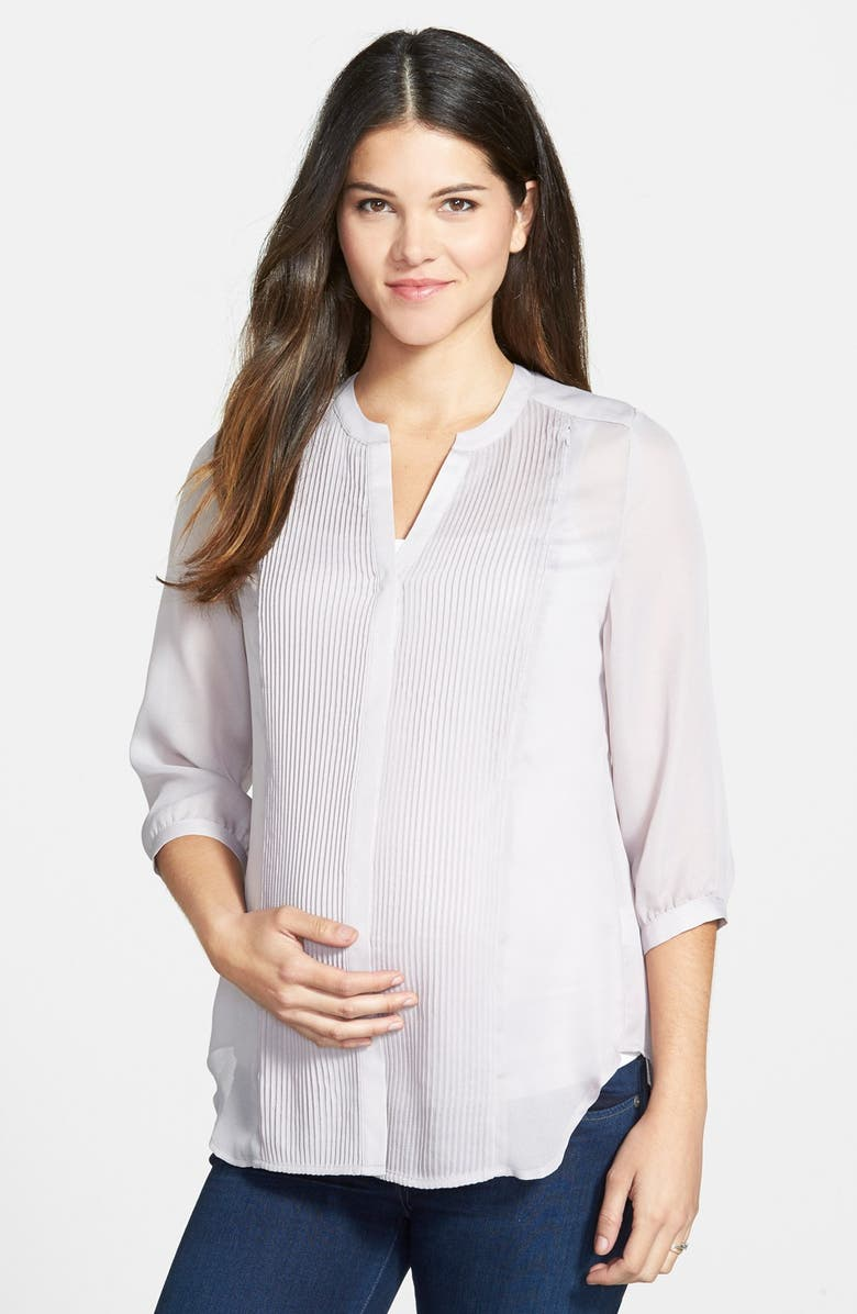 LOYAL HANA 'Audrey' Maternity/Nursing Tuxedo Blouse, Main, color, 020