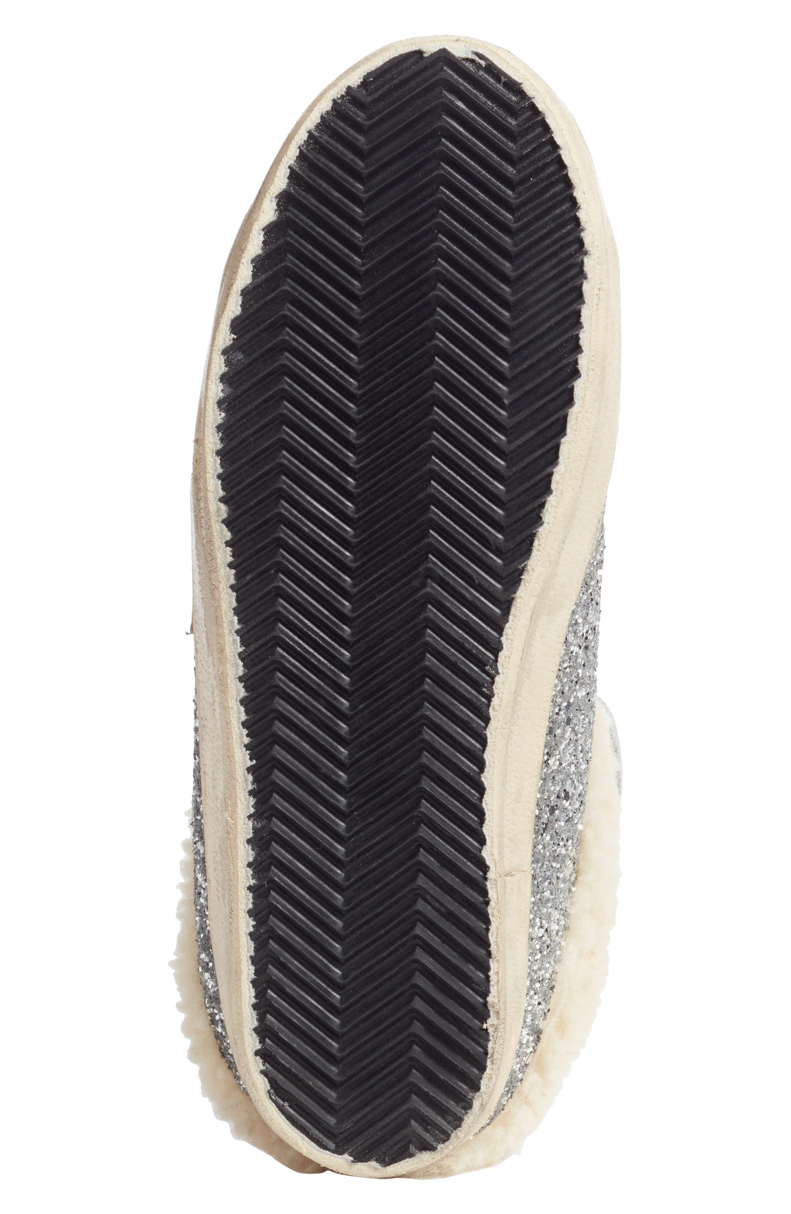 ,                             Sabot Superstar Genuine Shearling Slide Sneaker,                             Alternate thumbnail 6, color,                             SILVER/ WHITE