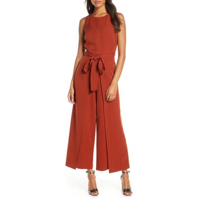 Julia Jordan Tie Waist Wide Leg Jumpsuit, Orange
