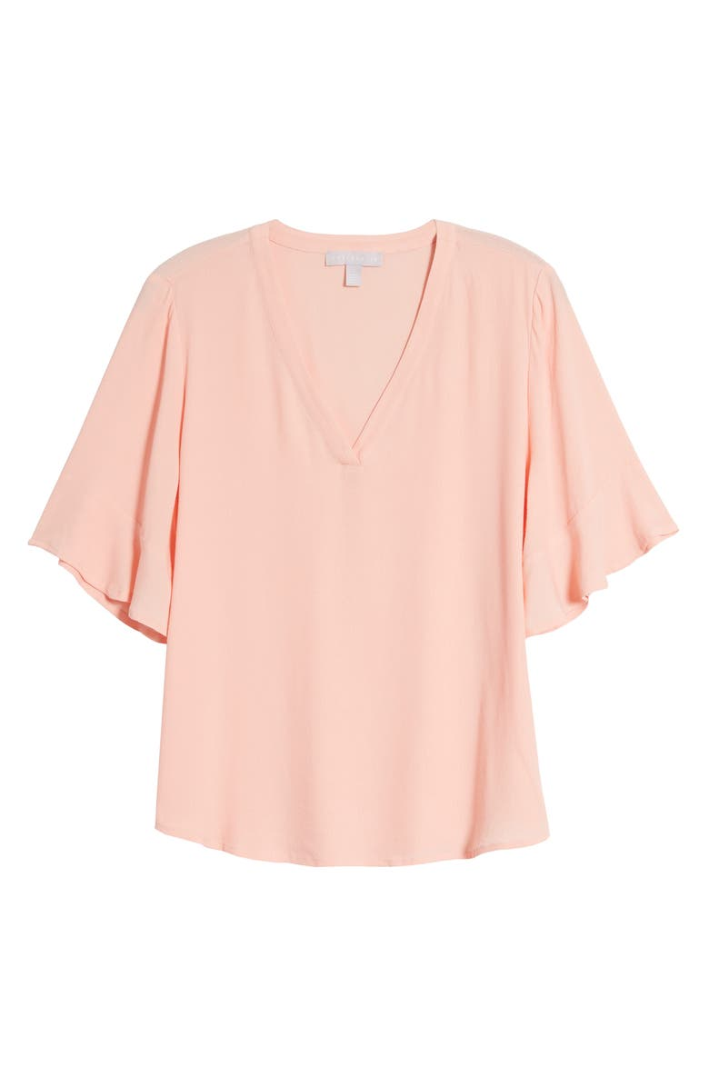 CHELSEA28 Ruffle Sleeve V-Neck Top, Main, color, PINK BUD