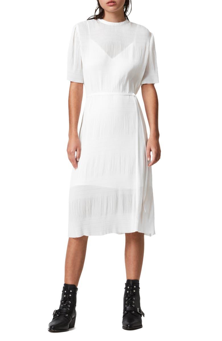 ALLSAINTS Kano Short Sleeve A-Line Dress, Main, color, CHALK WHITE