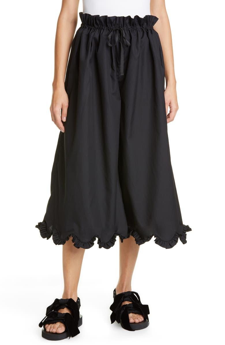 CECILIE BAHNSEN Sara Scallop Hem Trousers, Main, color, BLACK