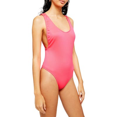 Topshop Ribbed Scoop Neck One Piece Swimsuit, US (fits like 2-4) - Pink