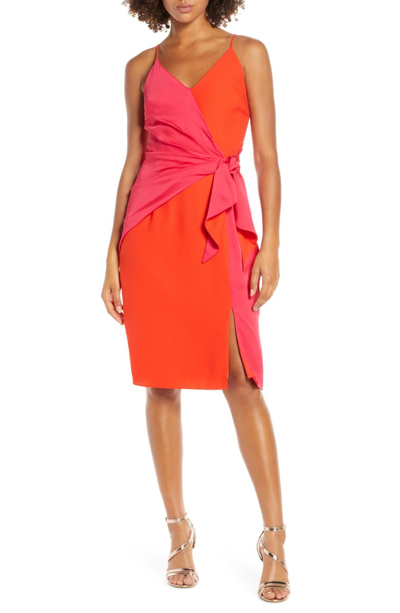 HARLYN Two-Tone Sheath Dress, Main, color, ORANGE RED/ CERISE