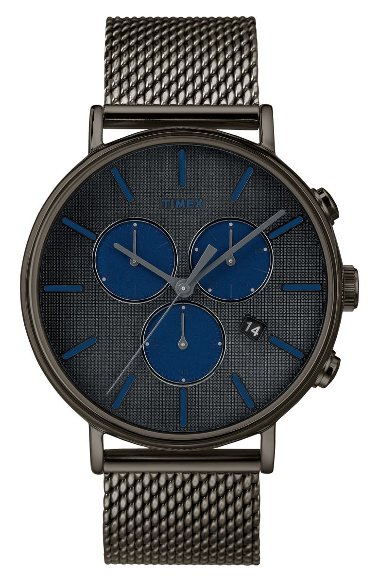 TIMEX<SUP>®</SUP> Fairfield Chronograph Mesh Strap Watch, 41mm, Main, color, 020