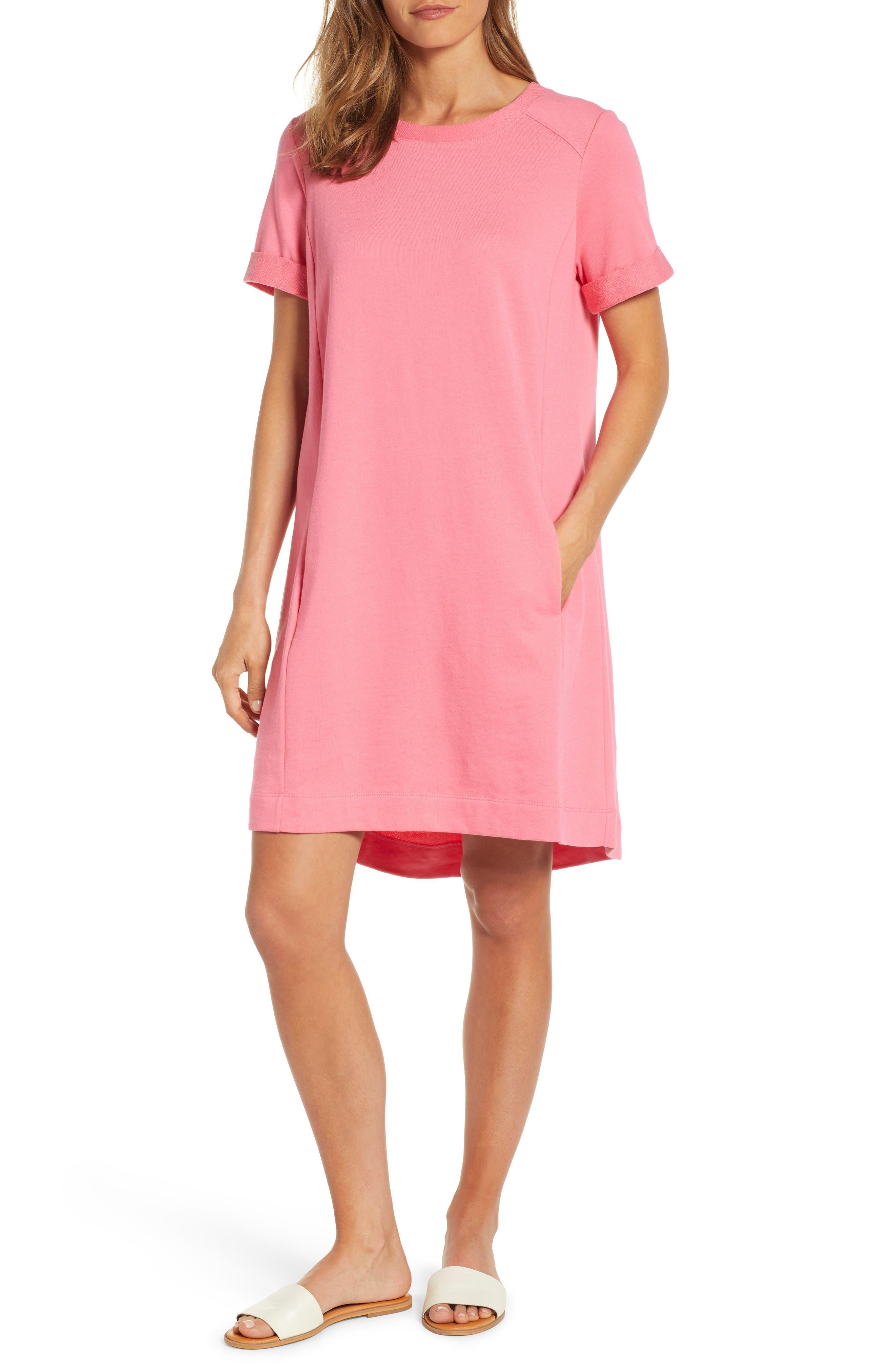 Caslon Short Sleeve Cotton Blend Dress, Pink
