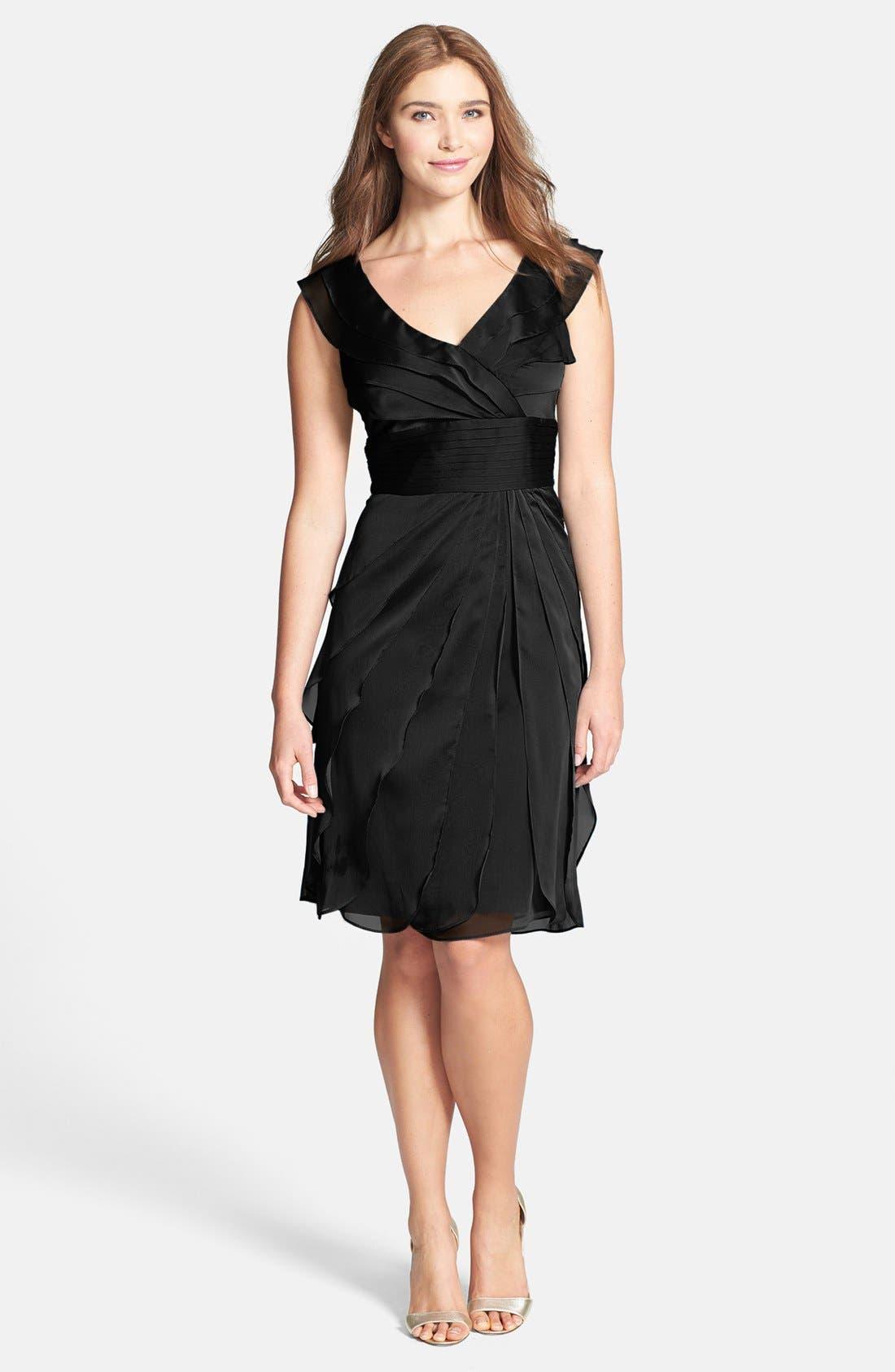 ,                             Tiered Chiffon Dress,                             Main thumbnail 1, color,                             001