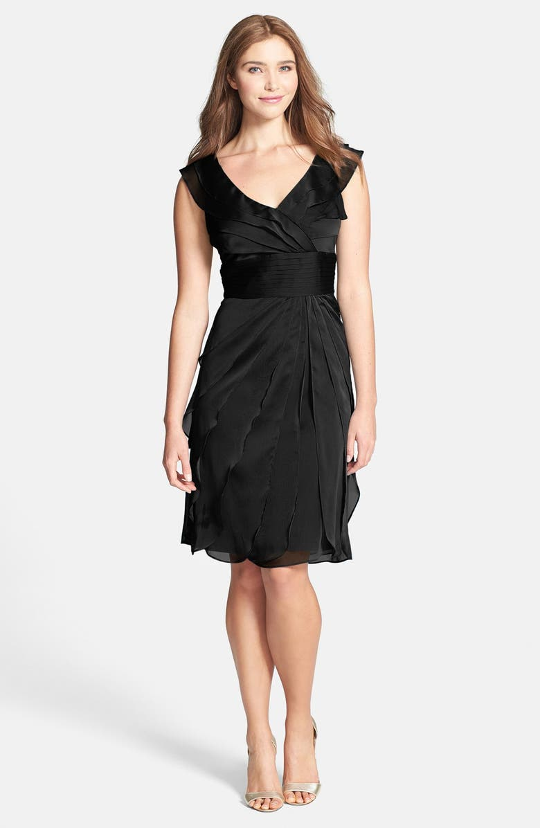 ADRIANNA PAPELL Tiered Chiffon Dress, Main, color, 001