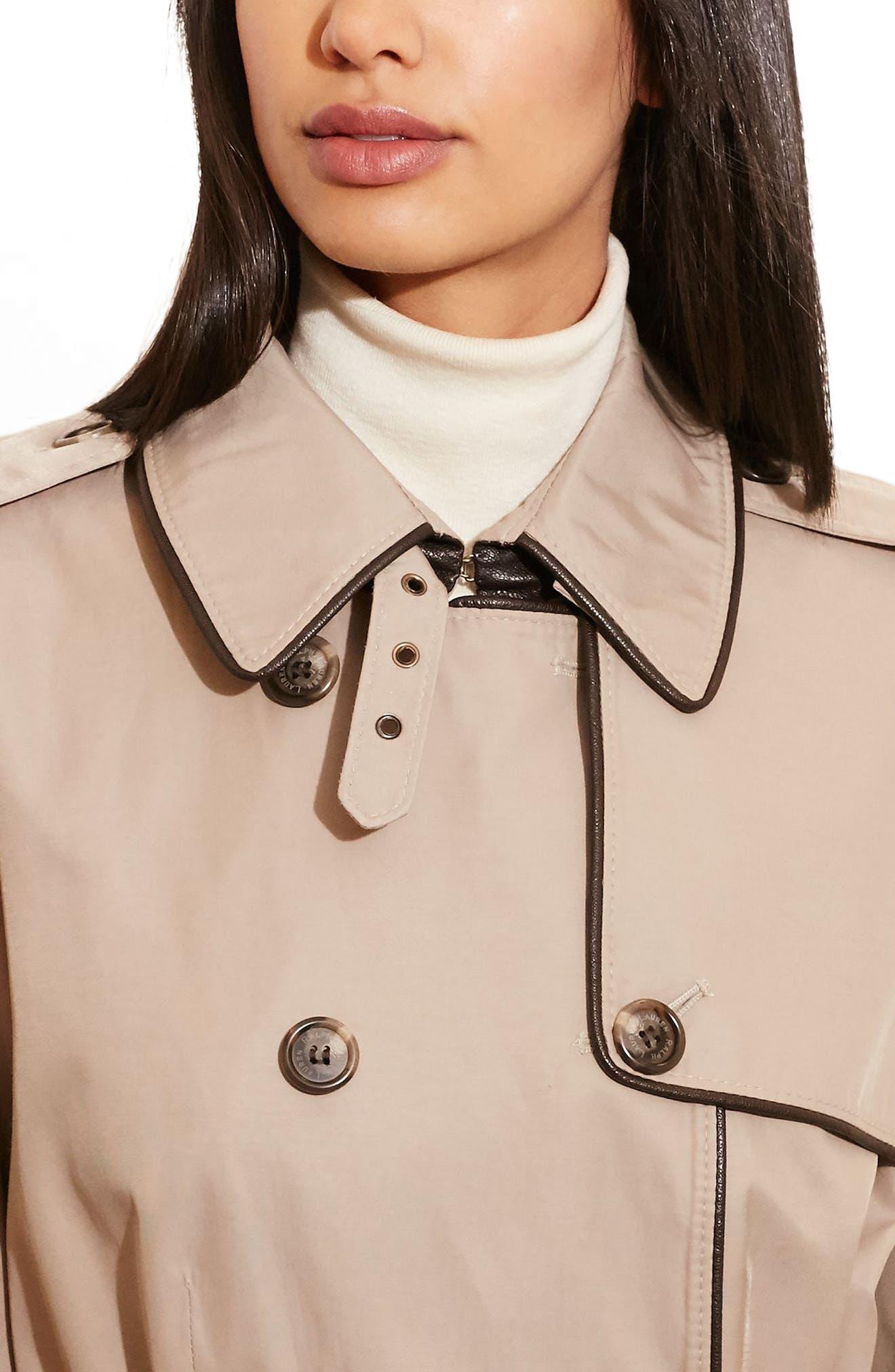 ,                             Faux Leather Trim Trench Coat,                             Alternate thumbnail 31, color,                             255