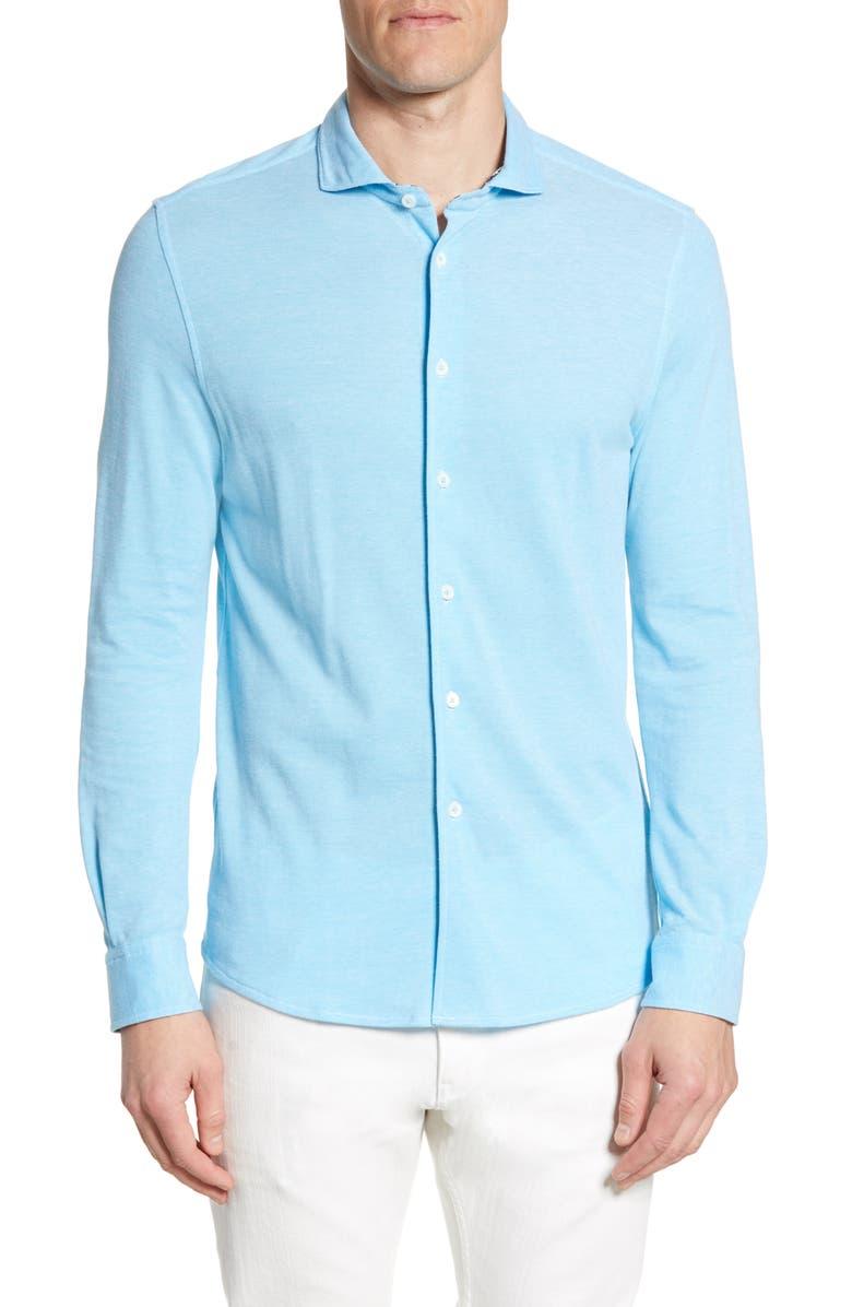 BUGATCHI Regular Fit Knit Sport Shirt, Main, color, AQUA