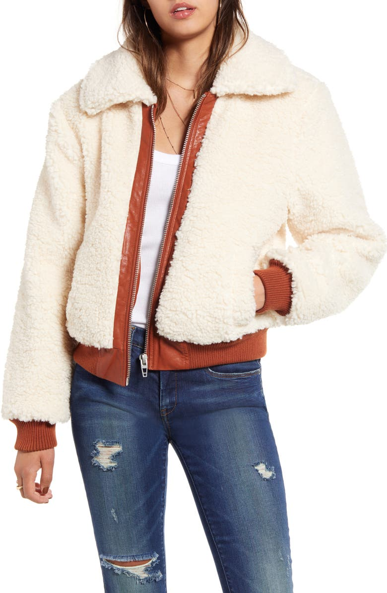 BLANKNYC Faux Shearling Crop Jacket, Main, color, MARSHMALLOW