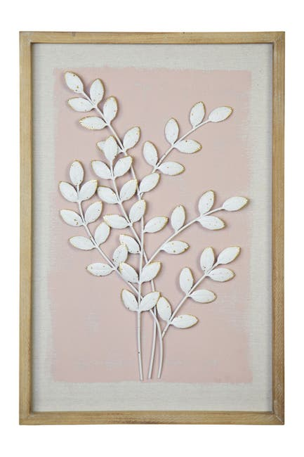 Image of Stratton Home Framed Pink Leaf Wall Art