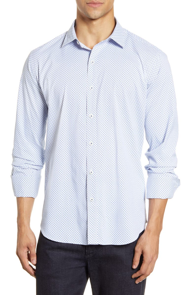 BUGATCHI Shaped Fit Button-Up Performance Shirt, Main, color, CLASSIC BLUE
