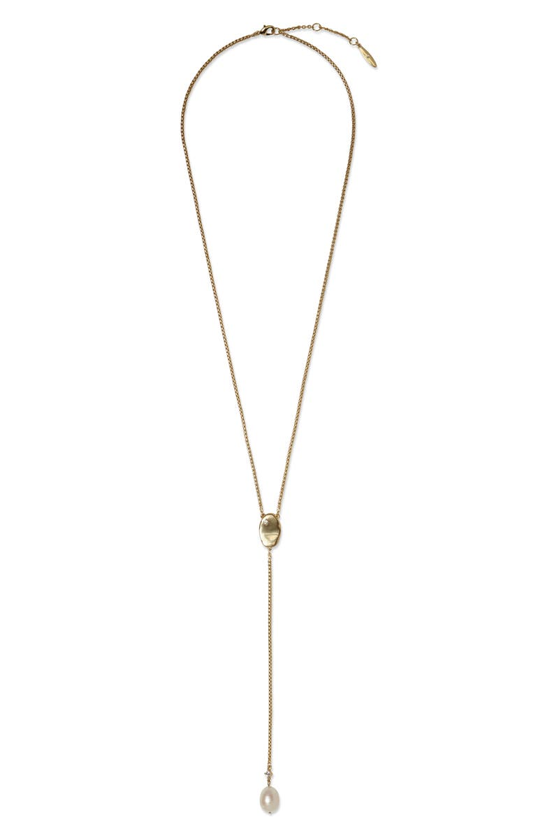 SOLE SOCIETY Pearl Accent Y-Necklace, Main, color, GOLD