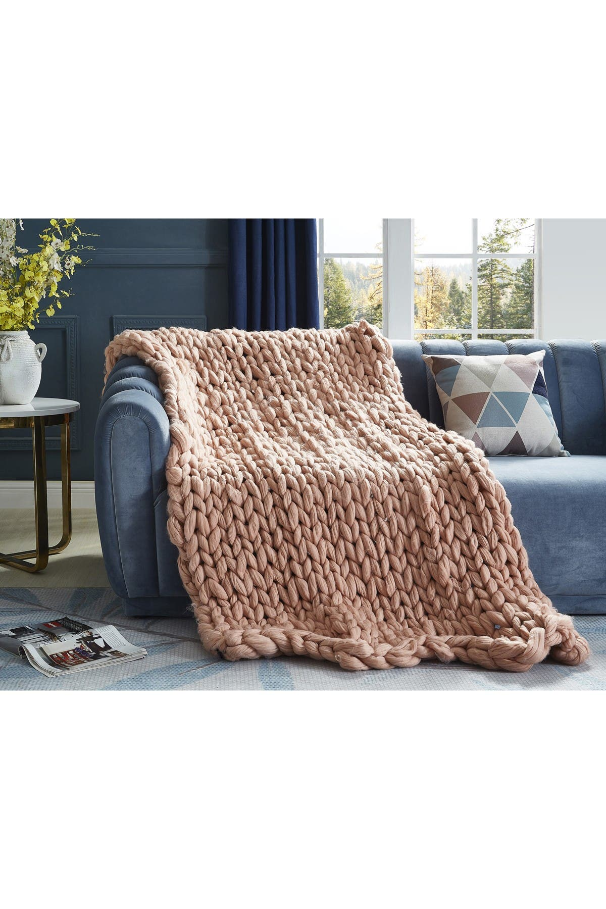 """Image of Inspired Home Cozy Tyme Mantisa Chunky Knit Throw 50"""" x 70"""" - Blush"""