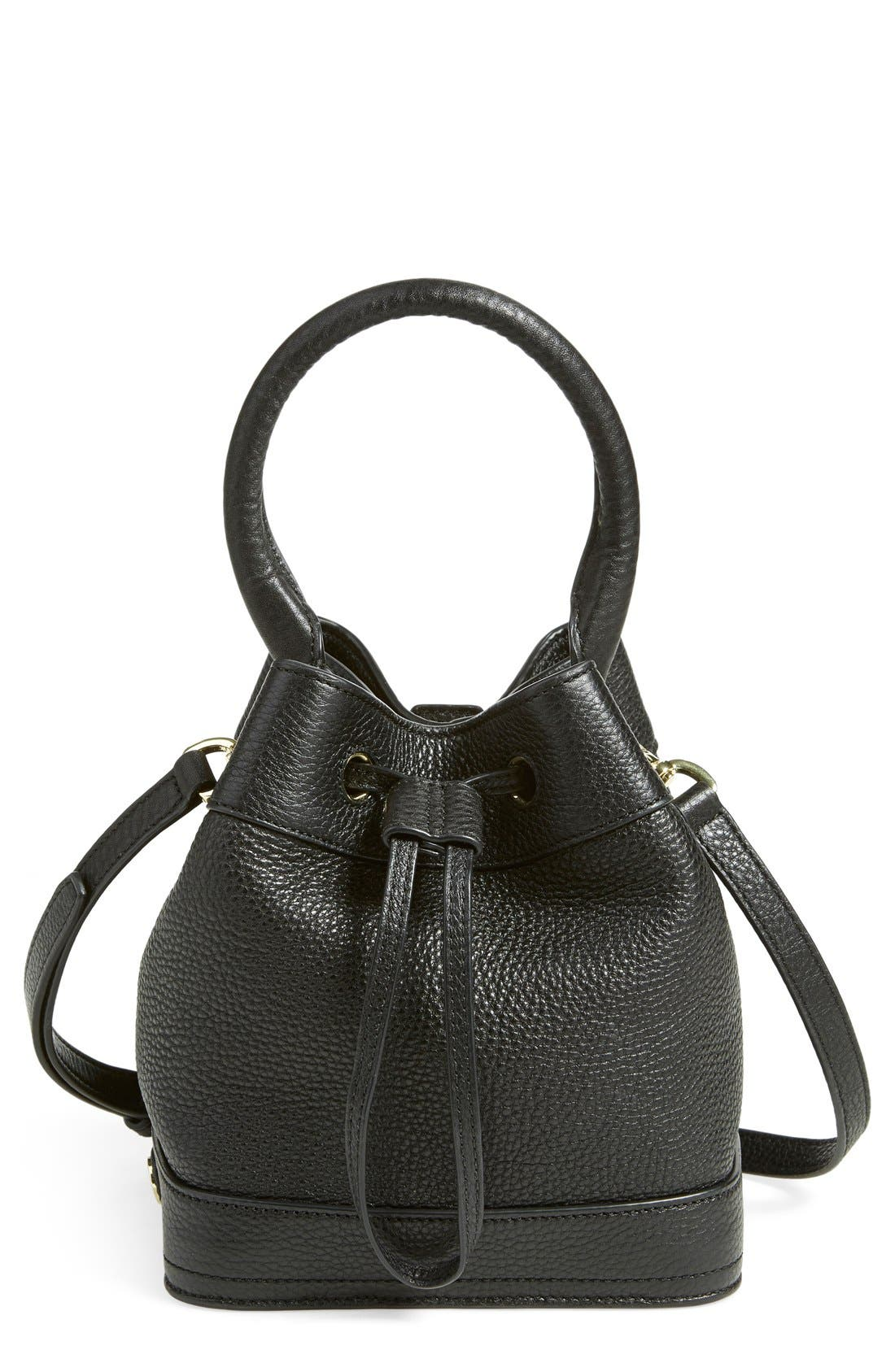 'Robinson' Pebbled Mini Bucket Bag, Main, color, 001