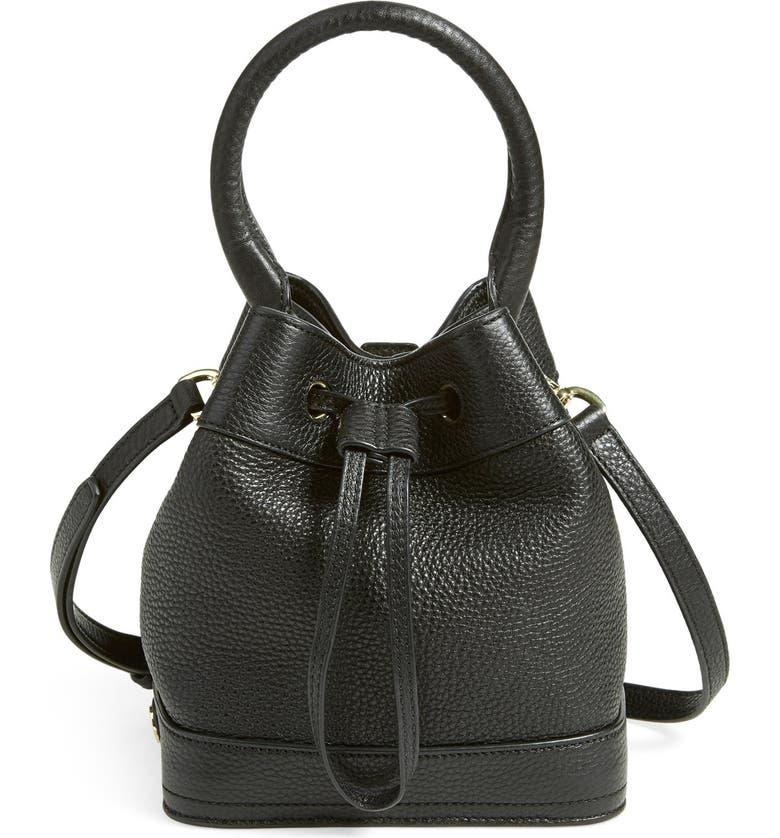 TORY BURCH 'Robinson' Pebbled Mini Bucket Bag, Main, color, 001