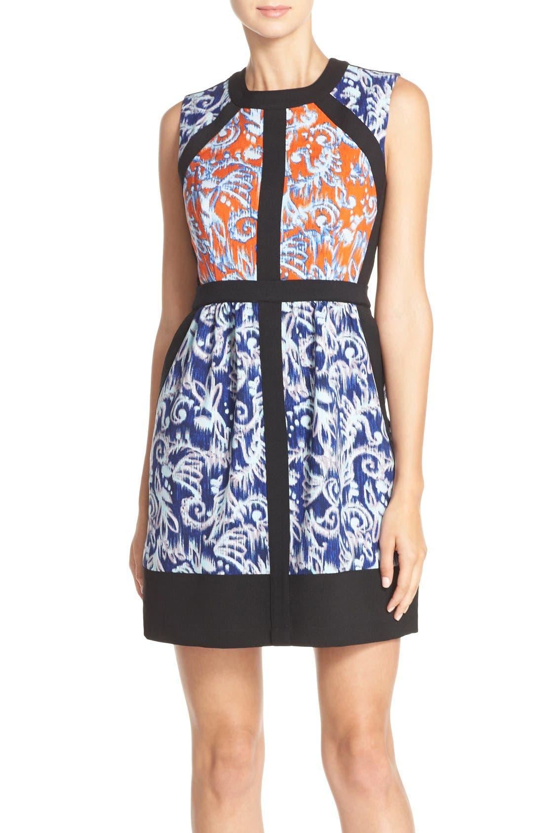 ,                             'Donatella' Banded Crepe Fit & Flare Dress,                             Alternate thumbnail 3, color,                             806