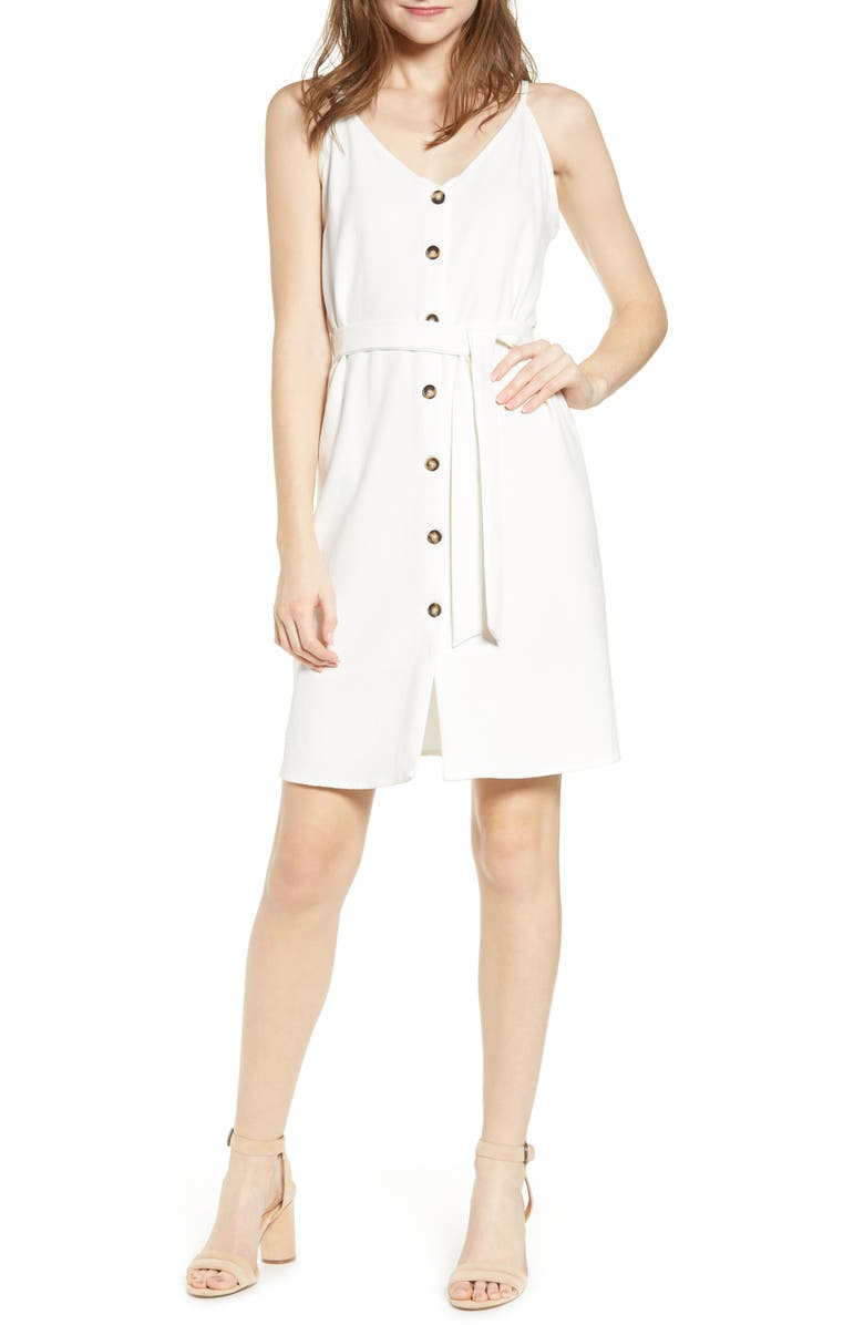 BISHOP + YOUNG Belted Button Dress, Main, color, WHITE