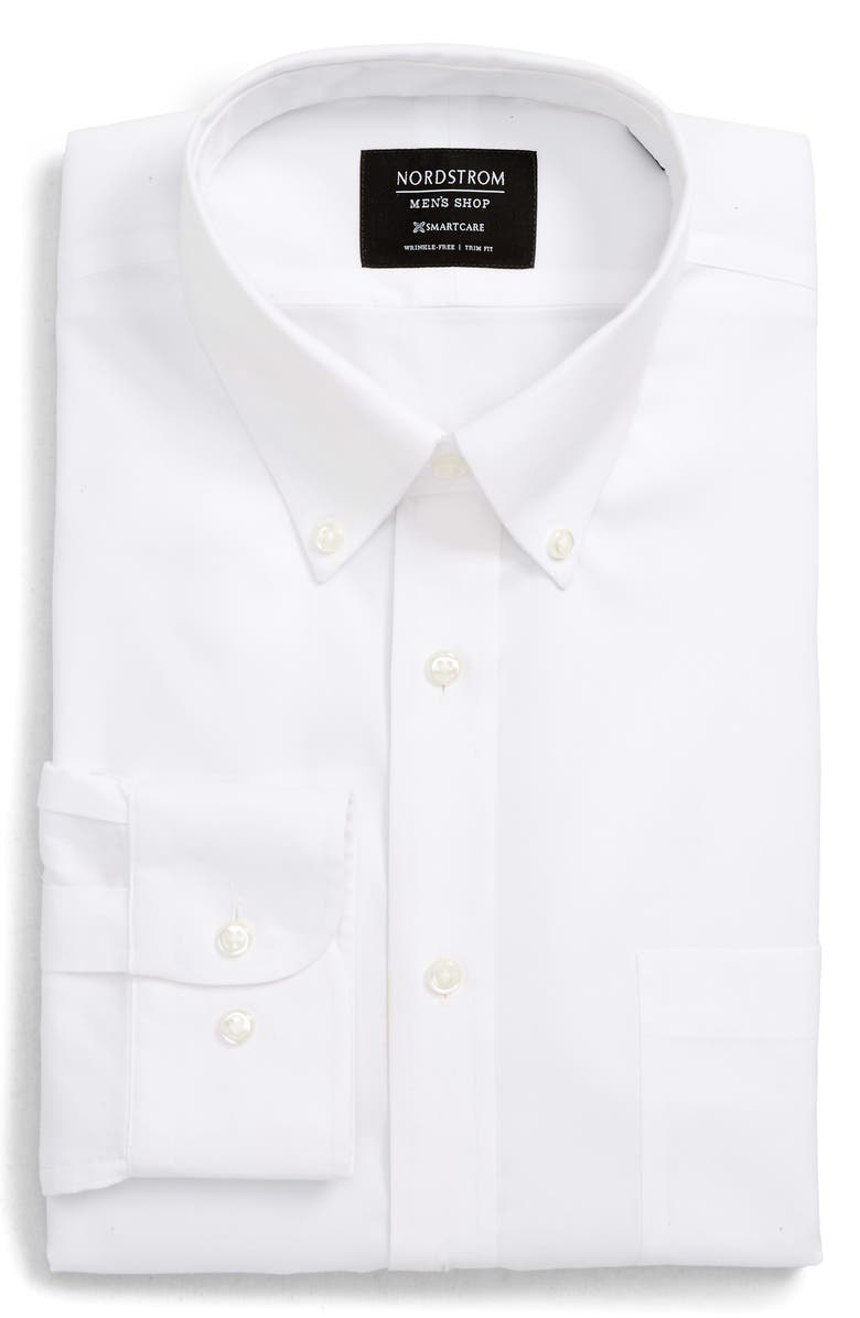 NORDSTROM MEN'S SHOP Smartcare<sup>™</sup> Trim Fit Dress Shirt, Main, color, WHITE BRILLIANT