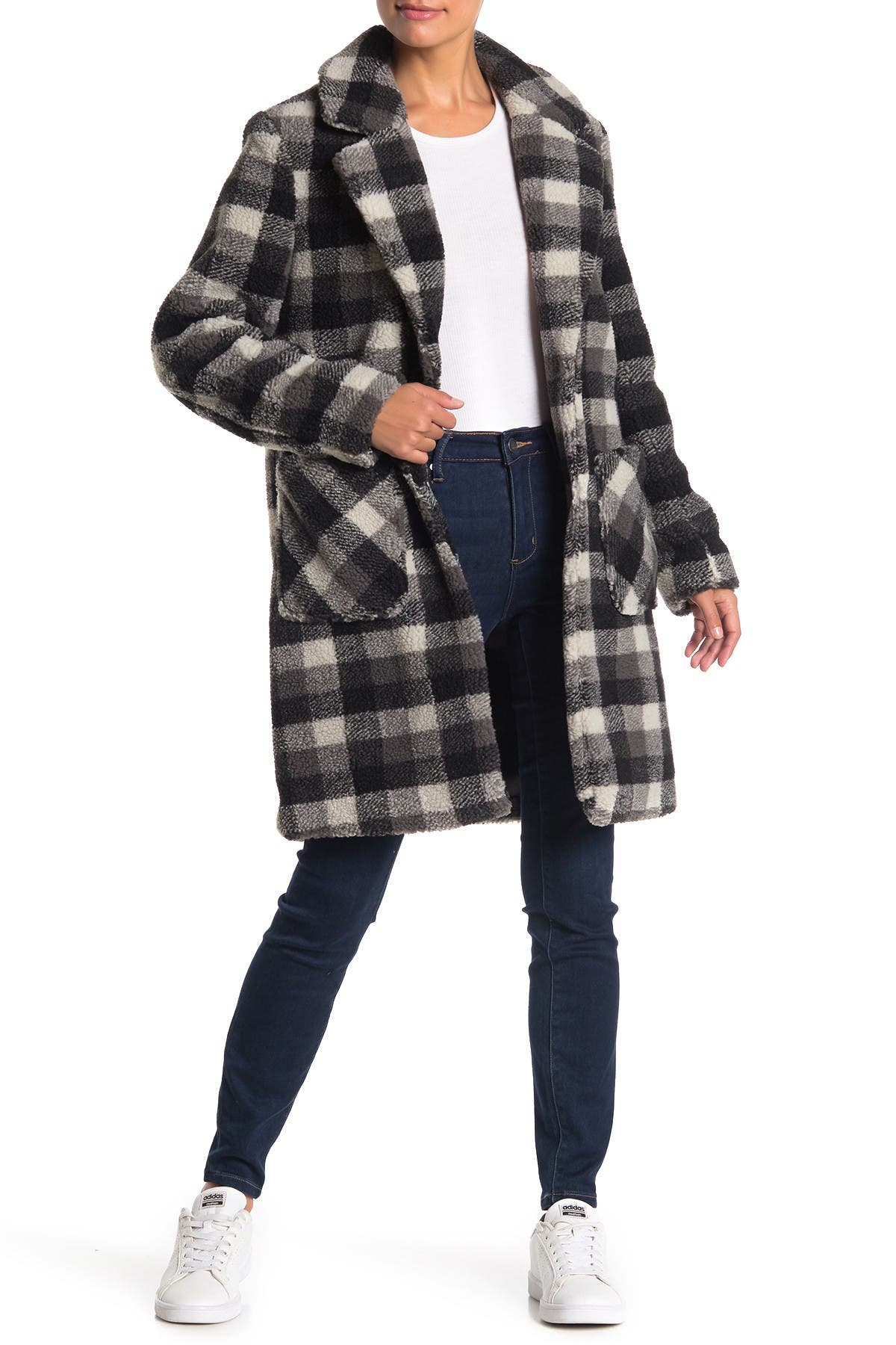 Image of French Connection Notch Collar Plaid Print Faux Fur Coat