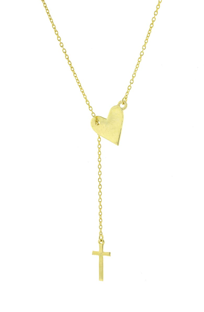 ADORNIA Heart & Cross Lariat Necklace, Main, color, METALLIC GOLD