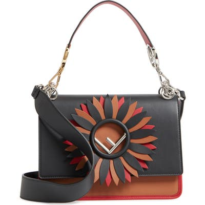 Fendi Kan I Century Mix Calfskin Leather Shoulder Bag - Black