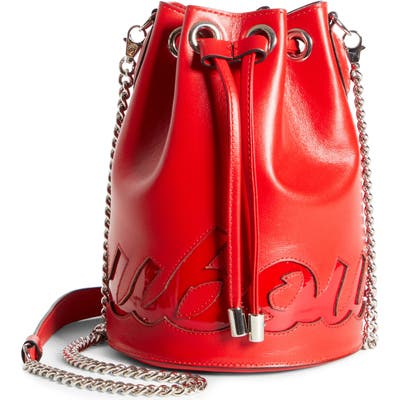 Christian Louboutin Marie Jane Logo Leather Bucket Bag - Red
