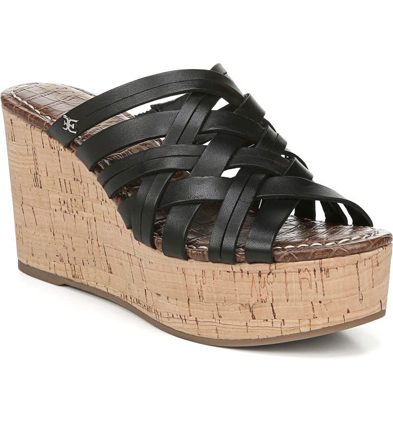 SAM EDELMAN Devon Wedge Slide Sandal, Main, color, BLACK LEATHER
