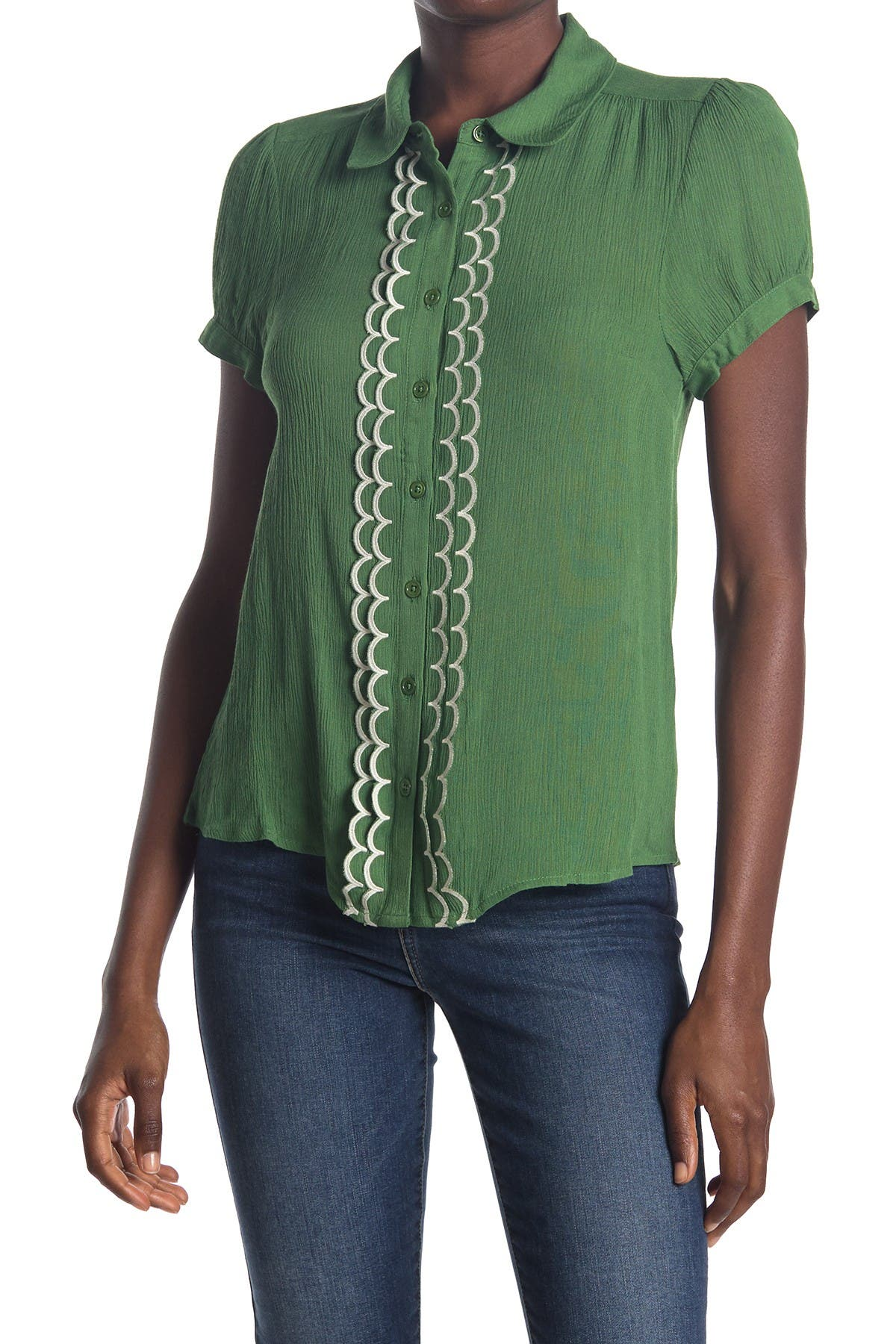 Image of MODCLOTH All About Scallops Button Front Blouse