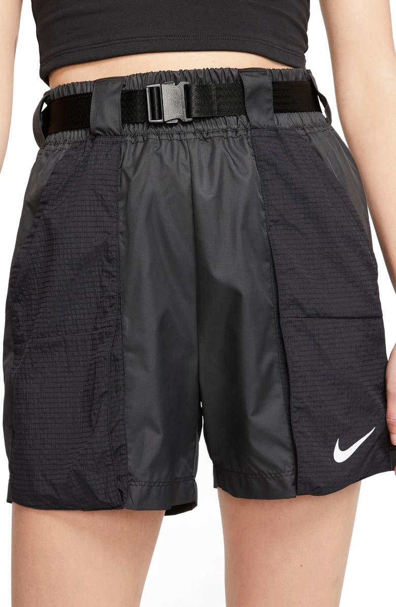 NIKE Sportswear Swoosh Woven Shorts, Main, color, BLACK/WHITE