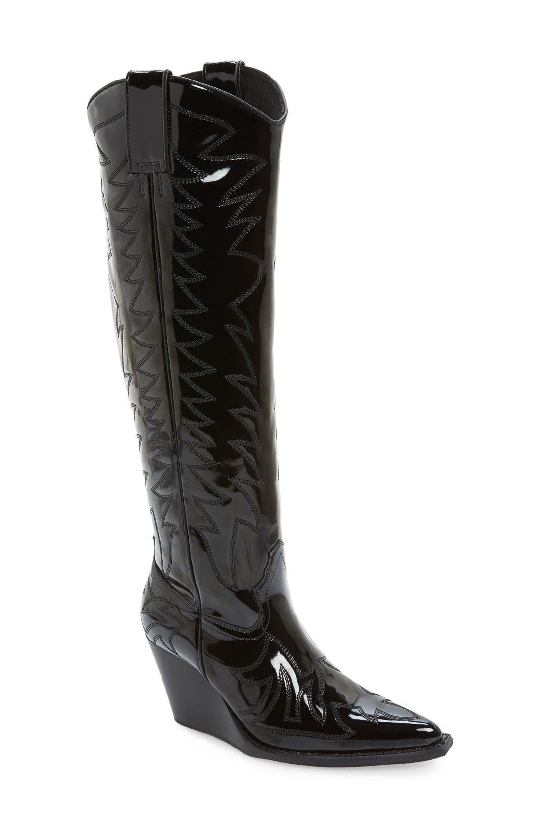 'Bit Sky' Tall Wedge Western Boot, Main, color, 001