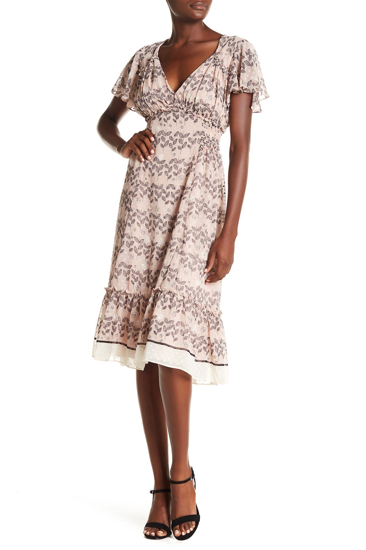 Image of Max Studio V-Neck Flutter Sleeve Midi Dress