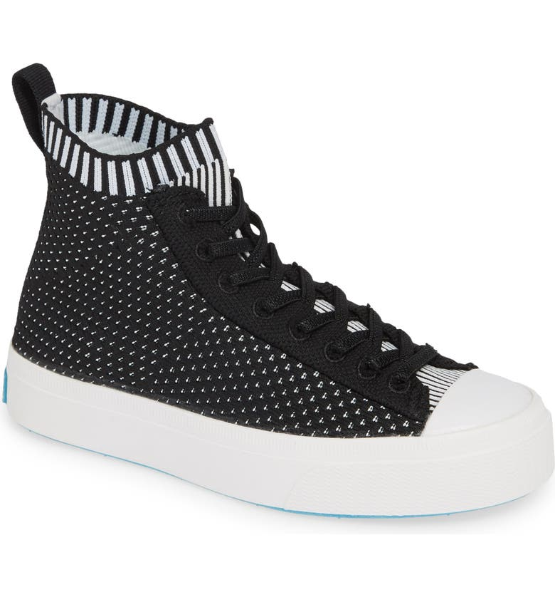 NATIVE SHOES Jefferson 2.0 LiteKnit Vegan High Top Sneaker, Main, color, JIFFY BLACK/ SHELL WHITE